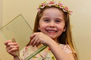 Ellie is all smiles as she holds her Child of Achievement trophy at the 2018 Best of Wearside Awards.