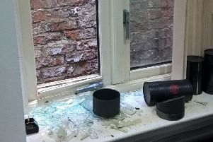 The smashed window where the burglar gained access to the flat on West Sunniside, Sunderland.