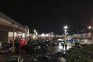 A photo issued by Durham Special Constabulary of the gathering at Durham City Retail Park.