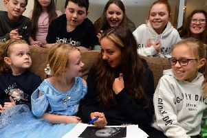 Jade on a visit to Cancer Connections at the end of 2018.