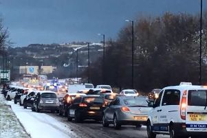 Gridlocked traffic on the A690 near Houghton Cut this morning.
