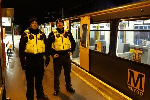 Northumbria Police officers working on the Metro system.