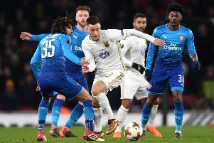 Jamie Hopcutt of Ostersunds FK in action against Arsenal  in the Europa League last year.