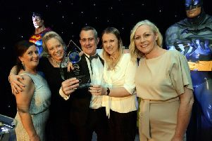 The Auxillis team after winning at the North East Contact Centre Awards.