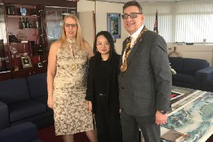 Deputy Mayor and Deputy Mayoress of Sunderland, Coun David Snowdon and Coun Diane Snowdon, with Chair of the Sunderland Chinese Students and Scholars Association Miss Jiang Yuxin