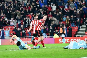Aiden McGeady celebrates his equaliser in the 2-2 draw with Accrington Stanley