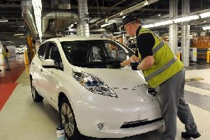A Nissan Leaf on the production line in Sunderland