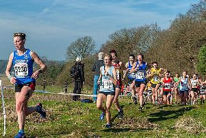 Sunderland Harriers' Vicky Haswell leads the pack at the National Cross Country Championships. Picture by Hudson Stoker.