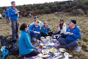The team take a break during their challenge. Picture: Chris Jackson / Getty for Comic Relief.