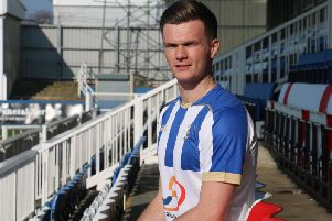 Fraser Kerr signed for Hartlepool this week from Gateshead (pic via HUFC/Shutterpress)