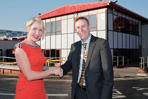 Heather Mills thanks Business Durhams Peter Rippingale for the organisations support with her new factory in Peterlee.