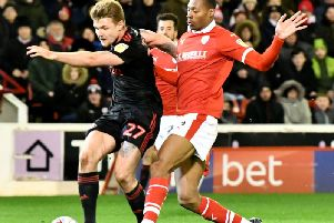 Max Power shoots in the goalless draw with Barnsley at Oakwell.