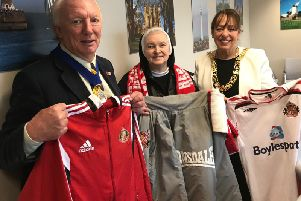 Mayoral consort Micky Horswill with Sister Mary Scholastica and Mayor of Sunderland Coun Lynda Scanlan