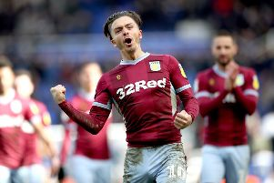 "Aston Villa's Jack Grealish celebrates after the final whistle during the Sky Bet Championship match at St Andrew's Trillion Trophy Stadium, Birmingham. PRESS ASSOCIATION Photo. Picture date: Sunday March 10, 2019. See PA story SOCCER Birmingham. Photo credit should read: Nick Potts/PA Wire. RESTRICTIONS: EDITORIAL USE ONLY No use with unauthorised audio, video, data, fixture lists, club/league logos or ""live"" services. Online in-match use limited to 120 images, no video emulation. No use in betting, games or single club/league/player publications."