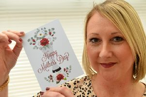 Nicola Ward with the Mother's Day card
