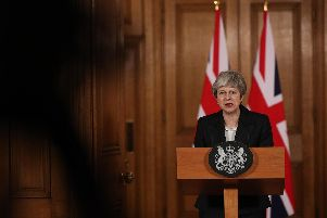 Prime Minister Theresa May making a statement about Brexit in Downing Street. Photo: Jonathan Brady/PA Wire