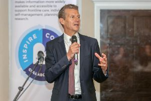 Steve Cram speaking at today's GNCR event at Ramside Hall.