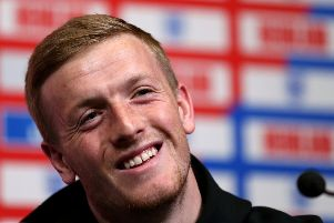 England goalkeeper Jordan Pickford during the press conference at Wembley Stadium, London. PRESS ASSOCIATION Photo. Picture date: Thursday March 21, 2019. See PA story SOCCER England. Photo credit should read: Steven Paston/PA Wire. RESTRICTIONS: Use subject to FA restrictions. Editorial use only. Commercial use only with prior written consent of the FA. No editing except cropping.