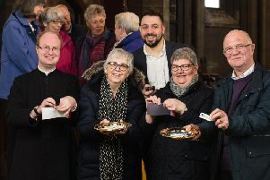 (from left) Fr McNeil, Dorothy Hill, Nathan Bruce, Church Warden Barbara Varley and St Mary's PGS Champion Eric Smith