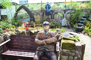 Horticap's Last of the Summer Wine show garden with life-size papier mache Compo.