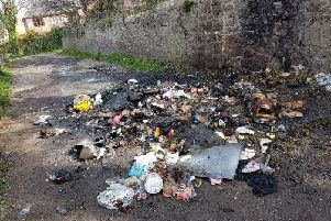 The rubbish dumped in Sunniside Lane