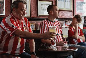 Some of the glassware created by Erin Dickson and used by SAFC supporters at the Colliery Tavern pub.