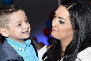 Bradley Lowery and mum Gemma pictured together at his sixth birthday party.