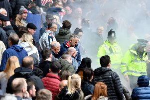 A flare was thrown towards Sunderland fans during last weekend's home match with Portsmouth.