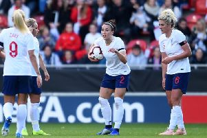 Lucy Bronze in action for England.