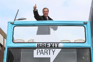 Nigel Farage on the Brexit Party bus in Sunderland.'Image by PA.
