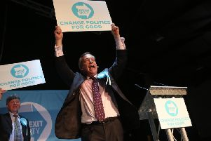 Nigel Farage on stage at the rally at Rainton Meadows Arena