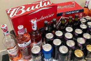 The haul of illegal booze which police confiscated from school leavers in Durham. Pic: Durham City Police.