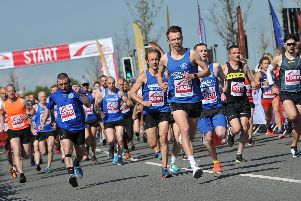 Runners at the start of the 10K