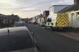 Police in Edward Burdis Street, Southwick, Sunderland, on Monday evening following an incident which left a man fighting for his life over the weekend.
