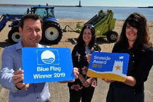 Ian Richardson, Acting Assistant Director of Environmental Services, Trina Murphy, Museums, Heritage and Arts Manager, Fiona Brown, Executive Director of Neigbourhoods and Environmental Services Team staff who keep the beaches clean, with the Blue Flag and Seaside awards.