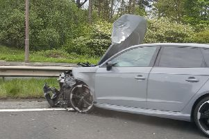 One of the cars which was damaged in the crash.