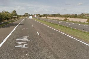 A lane on the A1(M) has been closed to allow for emergency pot hole repairs. Picture c/o Google Streetview