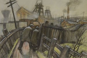Pit road pastel by Norman Cornish