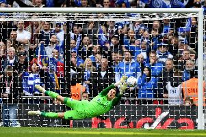 Craig MacGillivray saves from Lee Cattermole at Wembley in the Checkatrade Trophy final