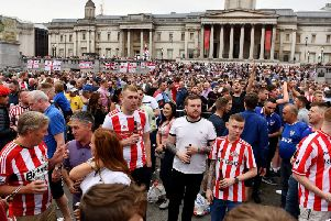 Sunderland fans took over Trafalgar Square ahead of their League One play-off final against Charlton.