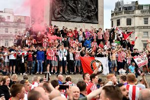 Sunderland fans congregating at Trafalgar Square yesterday as they began arriving for the play-off final v Charlton Athletic at Wembley.