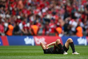 A devastated Bryan Oviedo at the final whistle