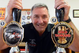Maxim Brewery owner Mark Anderson with the new Dray & Horse and Gold Tankard beers.
