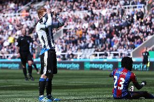 NEWCASTLE UPON TYNE, UNITED KINGDOM - APRIL 30:  Jack Colback of Newcastle United reacts after missing a chance during the Barclays Premier League match between Newcastle United and Crystal Palace at St James' Park on April 30, 2016 in Newcastle upon Tyne, England.  (Photo by Ian MacNicol/Getty Images)