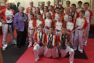 Mayor of Scarborough Hazel Lynskey meets the Desapline Martial Arts England Team ahead of the ICO Kickboxing World Championships later this month