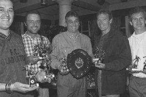 Pictured at the five a side presentation at the sports centre in Filey Road in April 1995 are the winners of the league and the cup FC Gladiators, from left, Steve Speight, captain, Bob Abley, Jimmy Newton, Bill Baldwin and Dave Creelman.