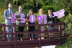 Raithwaite staff member Ryan Corner, fundraiser from Butterwick Hospice Jess Naylor, White Lily Ball organiser Lucy Mothersdale, Rachael Willmore from Zoes Place and Nicky Grunwell from St Catherines Hospice.