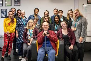 Sir Alan Ayckbourn (centre) with students taking CU Scarboroughs Acting BA'(Hons) degree