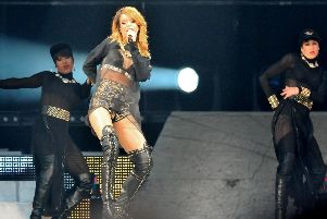 Rihanna performs on stage. File image.
