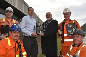 ICL Boulby workers getting present of  their own brand beer.